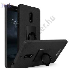 NOKIA 8 IMAK műanyag telefonvédő (gumírozott, telefontartó gyűrű, 360°-ban forgatható, képernyővédő fólia) FEKETE