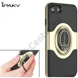 APPLE IPhone 6 Plus /6S Plus 5.5`` IPAKY műanyag telefonvédő (gumi / szilikon belső, mágneses telefontartó gyűrű, 360°-ban forgatható) ARANY