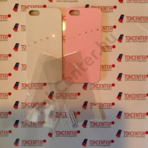 Apple iPhone 5 / iPhone 5S / iPhone SE fehér és rózsaszín köves műanyag hátlap + első és hátsó védő fólia, 4 termék/csomag