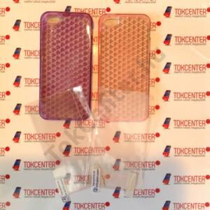 Apple iPhone 5 / iPhone 5S / iPhone SE gyémántmintás világos rózsaszín és lila szilikon tok + első és hátsó védő fólia, 4 termék/csomag