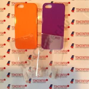 Apple iPhone 5 / iPhone 5S / iPhone SE lila és narancssárga fényes szegélyű szilikon tok + első és hátsó védő fólia, 4 termék/csomag