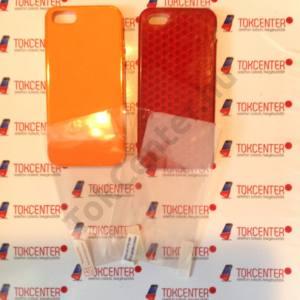 Apple iPhone 5 / iPhone 5S / iPhone SE piros gyémántmintás+narancssárga fényes szegélyű szilikon tok + első és hátsó védő fólia, 4 termék/csomag
