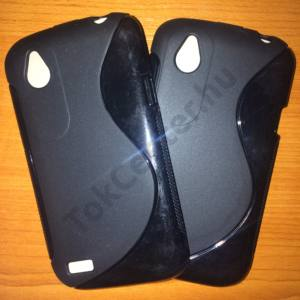 HTC Desire V (T328W) s-line szilikon tok, fekete színben, 2 db/csomag
