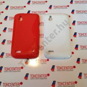 HTC Desire X (T328E) s-line szilikon tok, fehér és piros színben, 2 db/csomag