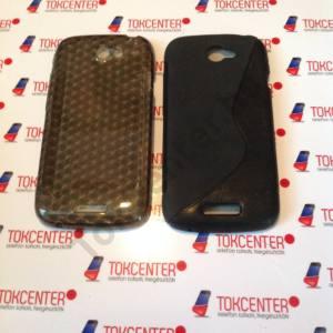 HTC One S (Z520e)  fekete s-line szilikon tok + fekete gyémánt mintás szilikon tok, 2 db/csomag
