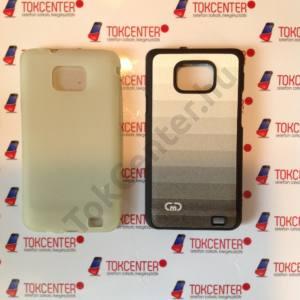 Samsung Galaxy S II (GT-I9100) átlátszó szilikon tok, szürke színátmenetes műanyag hátlap, 2 db/csomag