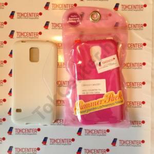 Samsung Galaxy S V. (SM-G900) SUMMER PACK: rózsaszín szilikon tok + fehér s-line + képernyővédő fólia, 3 termék/csomag