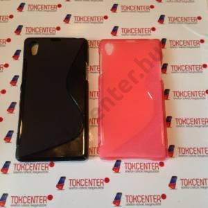 Sony Xperia Z1 (C6903) fekete és rózsaszín s-line szilikon tok, 2 db/csomag