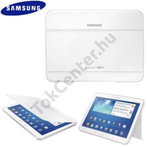 Samsung Galaxy Tab3 10.1 (P5200) Műanyag telefonvédő (FLIP, asztali tartó funkció) FEHÉR