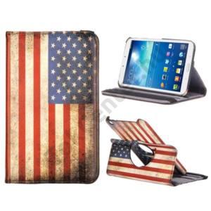 SAMSUNG Galaxy Tab3 7.0 FLIP, asztali tartó funkció, 360°-ban forgatható, textil hatás USA ZÁSZLÓ
