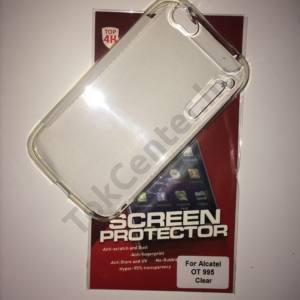 Alcatel OT-995 átlátszó szilikon tok + képernyővédő fólia