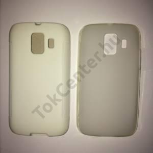 Huawei Ascend Y200 (U8655) fehér szilikon telefonvédő és átlátszó (fényes keret) telefontok, 2 db/csomag