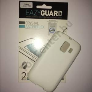 Huawei Ascend Y200 (U8655) Fehér szilikon telefonvédő + 2 db-os képernyővédő fólia, 3 db/csomag