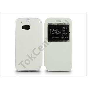 HTC One M8 S-View Flexi oldalra nyíló flipes tok - fehér