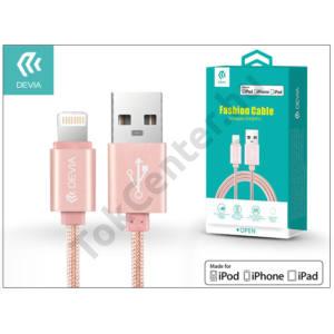 Apple iPhone 5/5S/5C/SE/iPad 4/iPad Mini USB töltő- és adatkábel - 1,2 m-es vezetékkel (Apple MFI engedélyes) - Devia Fashion Cable Lightning - rose gold