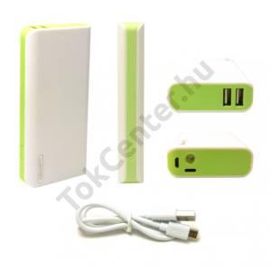 Basic hordozható powerbank,6000mA,fehér-zöld