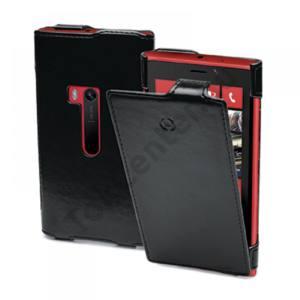 Celly Nokia Lumia 920 bőr flip tok, Fekete