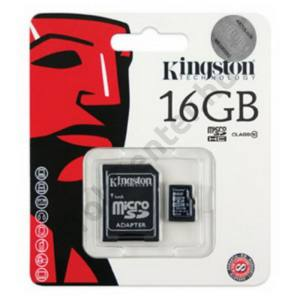 Kingston MicroSDHC,16 GB, 1 adapterrel,class4