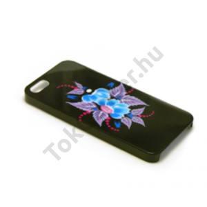 iPhone 5/5S műanyag mintás hátlap,Fekete virág