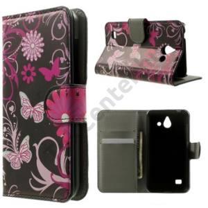 ASUS Zenfone Go (ZB452KG) Tok álló, bőr (FLIP, oldalra nyíló, asztali tartó funkció, pillangó, virágminta) FEKETE