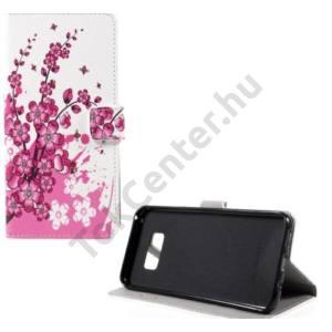 ASUS Zenfone Go (ZB452KG) Tok álló, bőr (FLIP, oldalra nyíló, asztali tartó funkció, virágminta) FEHÉR