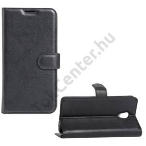 LG G6 (H870) Tok álló, bőr (FLIP, oldalra nyíló, asztali tartó funkció) FEKETE