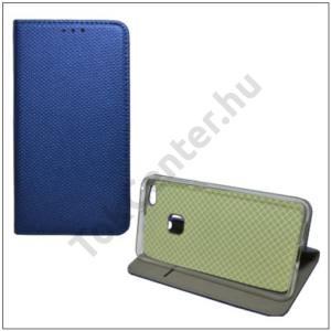 HUAWEI P10 Lite Tok álló, bőr (FLIP, mágneses, oldalra nyíló, asztali tartó funkció, textil hatás) SÖTÉTKÉK
