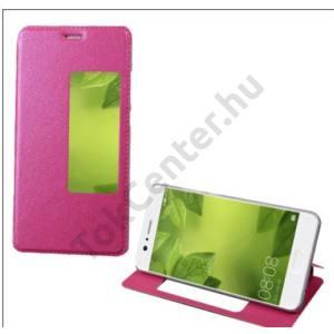 Huawei P10 Plus Tok álló, bőr (FLIP, oldalra nyíló, asztali tartó funkció, hívószámkijelzés, View Window) MAGENTA