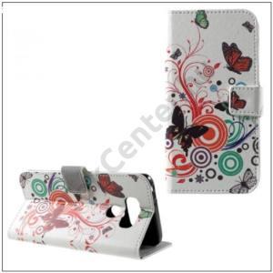 HTC U Play Tok álló, bőr (FLIP, oldalra nyíló, asztali tartó funkció, pillangó, körminta) FEHÉR