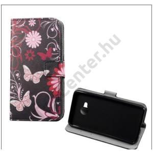 HTC U Play Tok álló, bőr (FLIP, oldalra nyíló, asztali tartó funkció, pillangó, virágminta) FEKETE