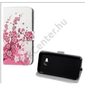 HTC U Play Tok álló, bőr (FLIP, oldalra nyíló, asztali tartó funkció, virágminta) FEHÉR