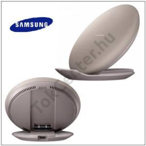 Hálózati töltő állomás (Type-C aljzat, vezeték nélküli töltés, QI Wireless, KÁBEL NÉLKÜL,Type-C microUSB adapter) BARNA