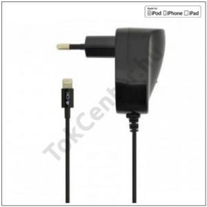 4-OK hálózati töltő (Lightning 8 pin, 5V / 1000mA, iOS7 támogatás, MFi Apple engedélyes) FEKETE
