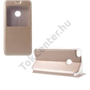 HUAWEI P9 Plus Tok álló, bőr (aktív flip, oldalra nyíló, asztali tartó funkció, View Window, selyem hatás) ARANY