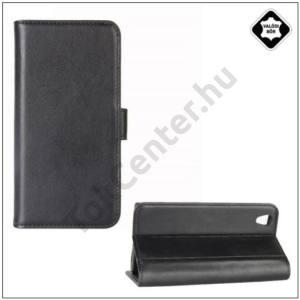 SONY Xperia L1 Tok álló, valódi bőr (FLIP, mágneses, oldalra nyíló, asztali tartó funkció) FEKETE