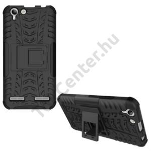 LG K10 (2017) Defender műanyag telefonvédő (közepesen ütésálló, gumi / szilikon belső, kitámasztó, autógumi minta) FEKETE