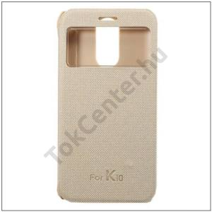 LG K10 (2017) Műanyag telefonvédő (aktív bőr flip, oldalra nyíló, View Window, selyem hatás) ARANY