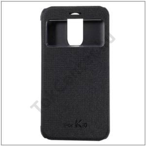 LG K10 (2017) Műanyag telefonvédő (aktív bőr flip, oldalra nyíló, View Window, selyem hatás) FEKETE