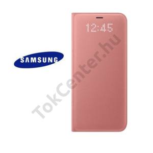 SAMSUNG Galaxy S8 Tok álló, bőr (FLIP, oldalra nyíló, akkufedél, bankkártya tartó, LED kijelző) RÓZSASZÍN