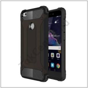 HUAWEI P9 lite (2017) Defender műanyag telefonvédő (közepesen ütésálló, gumi / szilikon belső, fémhatás) FEKETE