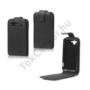 HTC Rhyme (Bliss Tok álló, bőr, Flip, (mágneses, karbon minta) FEKETE