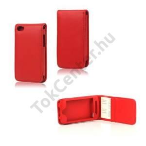 Apple iPod touch 4 Tok álló, bőr (FLIP, REJTETT mágneses, bankkártya tartó) PIROS