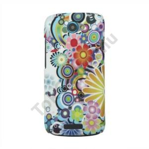 HTC One S (Z520e) Műanyag telefonvédő (gumírozott) VIRÁGMINTÁS