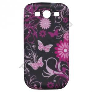 Samsung Galaxy S III. (GT-I9300) Telefonvédő gumi / szilikon (pillangó, virágmintás) FEKETE