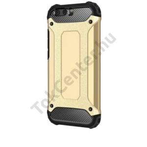 Samsung Galaxy A3 (2017) (SM-A320F) Defender műanyag telefonvédő (közepesen ütésálló, gumi / szilikon belső, fémhatás) ARANY
