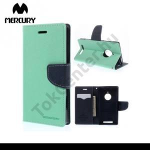 Nokia Lumia 830 MERCURY Fancy Diary tok álló, bőr (FLIP, mágneses, oldalra nyíló, bankkártya tartó, asztali tartó funkció) CYAN