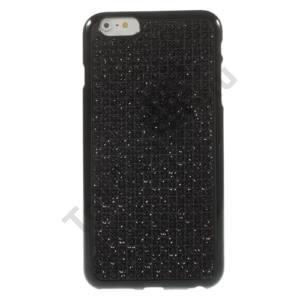 Apple iPhone 6 4.7`` / 6S 4.7`` Telefonvédő gumi / szilikon (strasszkő, kockaminta) FEKETE