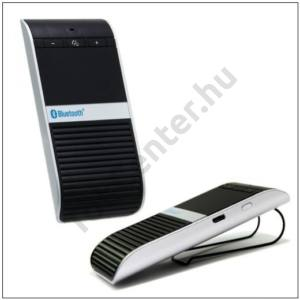BLUETOOTH kihangosító szett hordozható NAPELEMES (szivartöltő, USB kábel, napellenzőre csíptethető) FEKETE/EZÜST