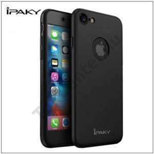 APPLE IPhone 7  IPAKY műanyag telefonvédő (előlap védelem, képernyővédő fólia, tisztítókendő, logo kivágás) FEKETE