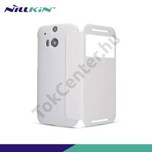 HTC One 2014 (M8) NILLKIN SPARKLE műanyag telefonvédő (mikroszálas bőr flip, oldalra nyíló, hívószámkijelzés, S-View Cover) FEHÉR